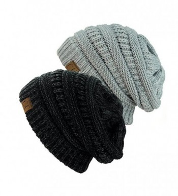 NYFASHION101 Exclusive Unisex Two Tone Warm Cable Knit Thick Slouch Beanie Cap (Black/Charcoal & 2 Tone Grey) - CP12NRHW0G7