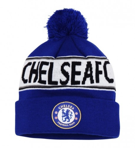 Official Soccer/Football Merchandise Adult Chelsea FC Text Winter Beanie Hat - Royal Blue/ White - CB11YN9MNKB