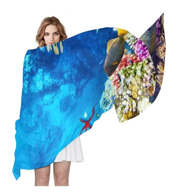 Women Corals And Tropical Fish Scarf- JSTEL Elegant Fashion Ladies Soft Wrap Shawl Chiffon Neckerchief - CX186KH4O49