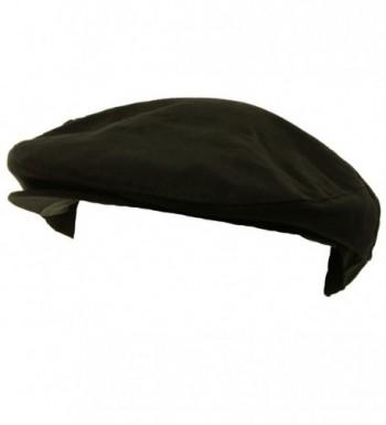 Men's Summer Front Snap Solid Flat Golf Ivy Driver Cabby Cap Hat - Black - C911DKBGBXX