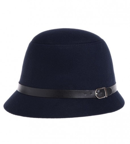 VBIGER Bowler Hat Fedora Derby Hats Vintage Cloche Hats Bucket Hats For Women - Dark Blue - CB124KAE7AT