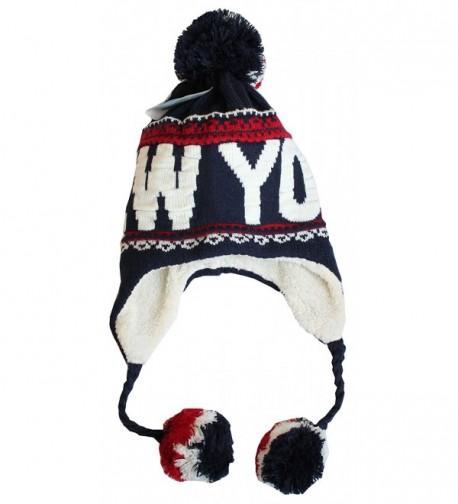 Robin Ruth New York Winter Pom Pom Fleeced Warm Embroidery Beanie Hat - Navy White Red - CF120CV6T03