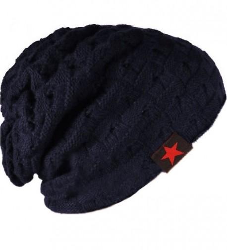 MiYang Winter Men's Stylish Hollow Star Warm Knit Cap Slouchy Beanie Hat - Navy - CL120J3A1MF