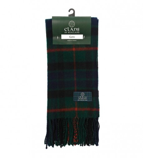 Clans Of Scotland Pure New Wool Scottish Tartan Scarf Gunn (One Size) - C7123H49XVJ