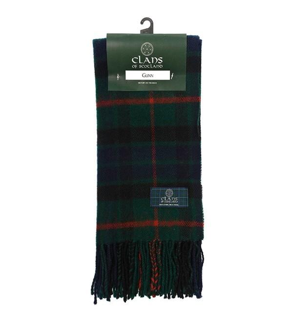 Clans Of Scotland Pure New Wool Scottish Tartan Scarf Gunn (One Size) - C7123H49XVJ