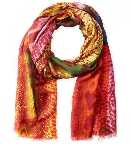 La Fiorentina Women's Multi Color Snake Print Scarf - Red Combo - CF11RU0UQB3