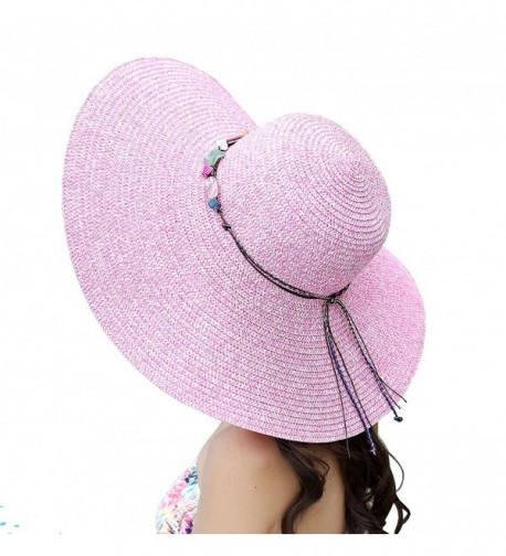Urban CoCo Women's Large Wide Brim Caps Foldable Summer Outdoor Beach Sun Straw Hats - Pink - CJ12I5R6TER