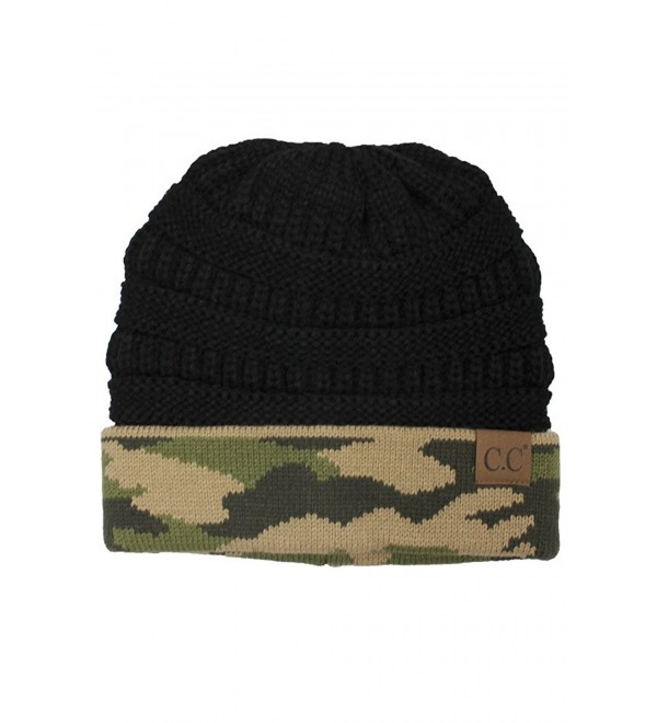 ScarvesMe CC Hot and New Camouflage Camo Print Knit Cuff Beanie Warm Winter Hat Skully Cap - Black - CQ12N39065L