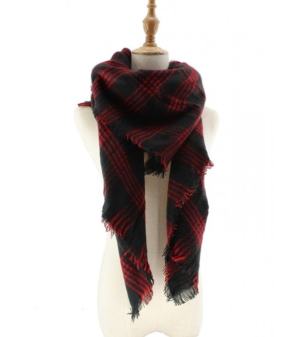 Jiao Miao Women's Soft Tartan Scarf Winter Large Blanket Wrap Shawl - 170801-red - CZ18695ELAW