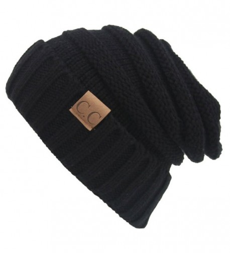 AIJIAO Winter Hats Women Cap Crochet Knit Thermal Slouchy Beanie Hat - Black - CT12N36PWOV