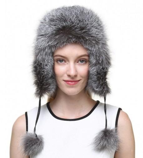 Vogueearth Women'Real Fox Fur Winter Warmer Hat - Silver - CF12MDTWZD7