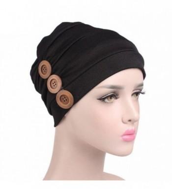 DEESEE Women Cancer Chemo Hat Beanie Scarf Muslim Turban Head Wrap Cap - Black - CI185K9TS9Y