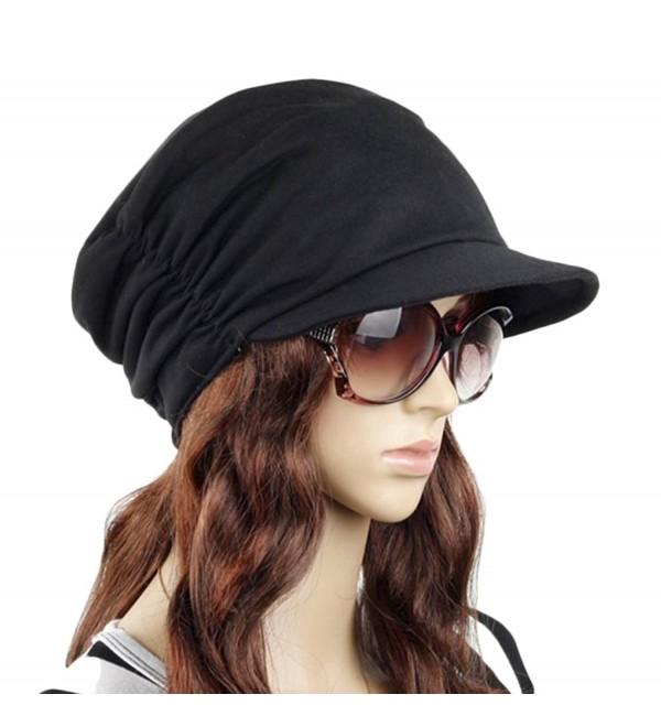 Women's Fashion Drape Layers Slouch Beret Beanie Soft Brim Newsboy Hat Visor Cap - Black - C212KPWA0CL