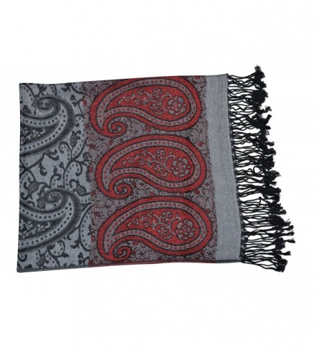 44ecfe08288 Womens Large Vintage Pashmina Paisley Jacquard Scarf Shawl Wrap Grey and  Red CM128EX2CHP