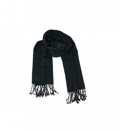 High Style 100% Brushed Pure Silk Men and Women Scarfs (Various Colors and Designs) - Black - C411OY6N6PJ