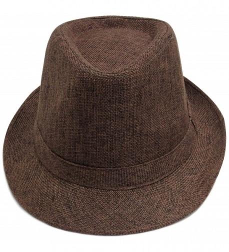 Verabella Unisex Short Brim Panama Style Natural Straw Fedora/Trilby Summer Hat - Brown - CD18034EDR8