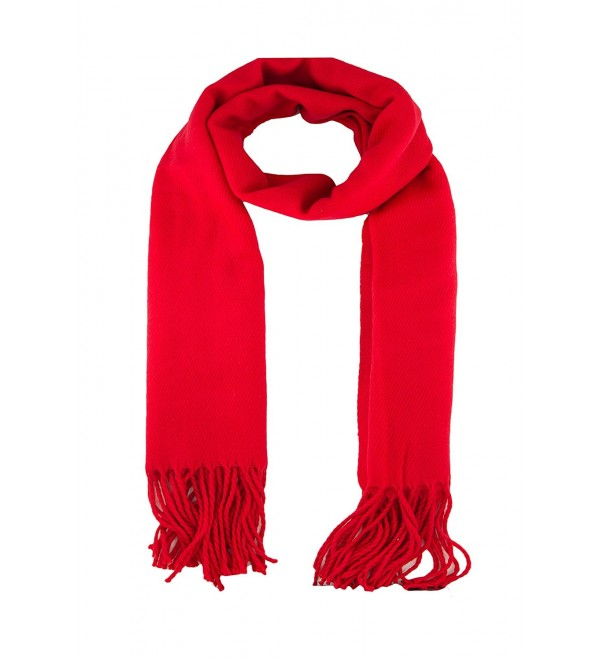 TooPhoto Scarfs for Women Men Thick Solid Color Cashmere Feel Winter Christmas Warm Wrap Shawl - A Red - CP1879L3R2Z