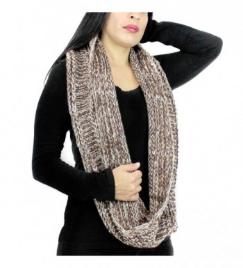 Vintage Knitted Infinity Scarf Brown