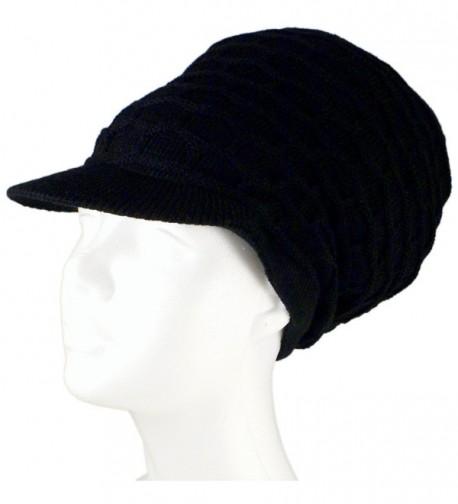 "SSK Rasta Dread Knit Tam Hat - ""Dreadlocks Cap"" (Medium Length Solid Black- with Brim) - CC11QS0T40P"