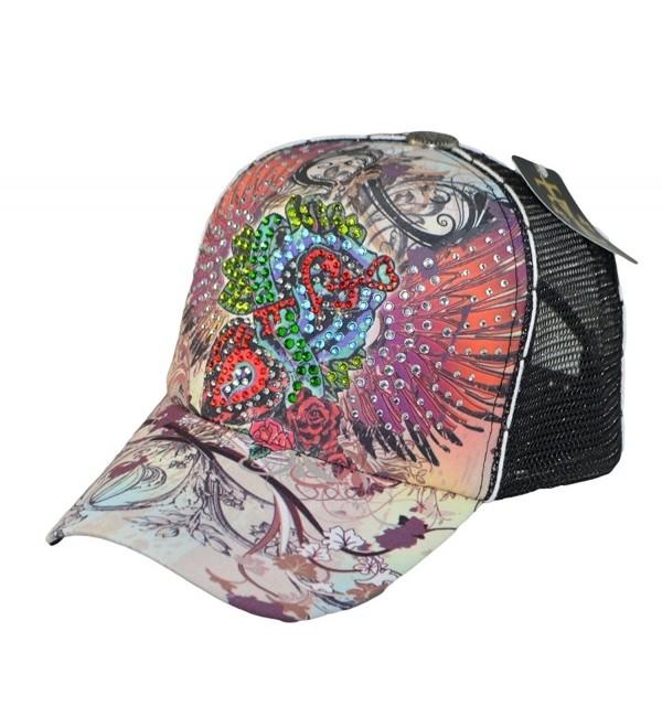 Tatuzone Woman Mesh Trucker Cap W/ Rhinestones Studded Love Wings Printing Hat - CT11OROLRLD