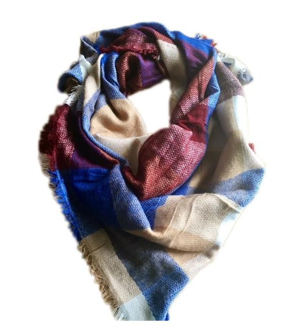 Fashionable Fall or Winter Plaid Blanket Scarfs Multiple Styles! - Cobalt & Tan Plaid - C718760QCD6