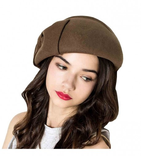 Maitose Women's Decorative Bow Wool Beret Cap - Camel - CN12MCICTAR