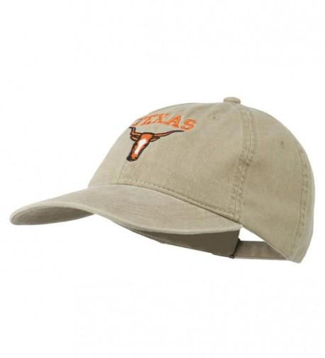 Texas Longhorn Embroidered Washed Cap - Khaki - C211QLMKJ9P