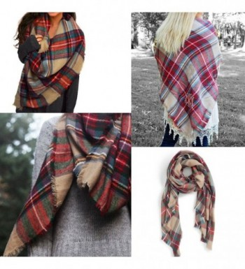 JALIYO Womens Plaid Colored Blanket in Fashion Scarves
