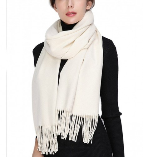 Womens Soft Wool Cashmere Oversized Blanket Wraps Sheer Shawl Tassel Scarf - White - CS1863WOROR