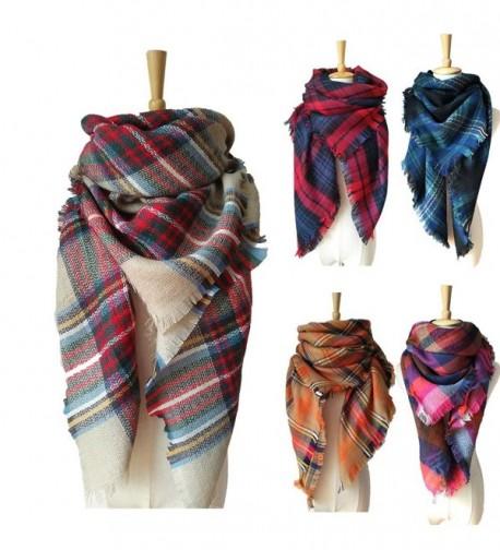 SKYLINK Women's Blanket Scarf Big Winter Scarf Cozy Blankets for Women - Light Camel Plaid - C0187L6ZQWC