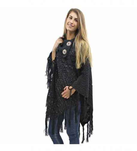 Black Cable Knit Turtleneck Poncho With Sequins & Long Fringe - CR127O66IP5