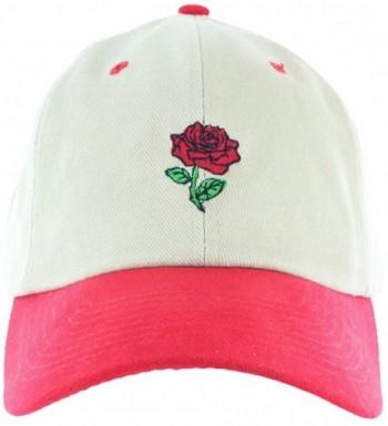 Rose Dad Hat Cap Rose Flower Hat Embroidered Adjustable Baseball Cap - Khaki.red.strapback - CZ12MAIT5SJ