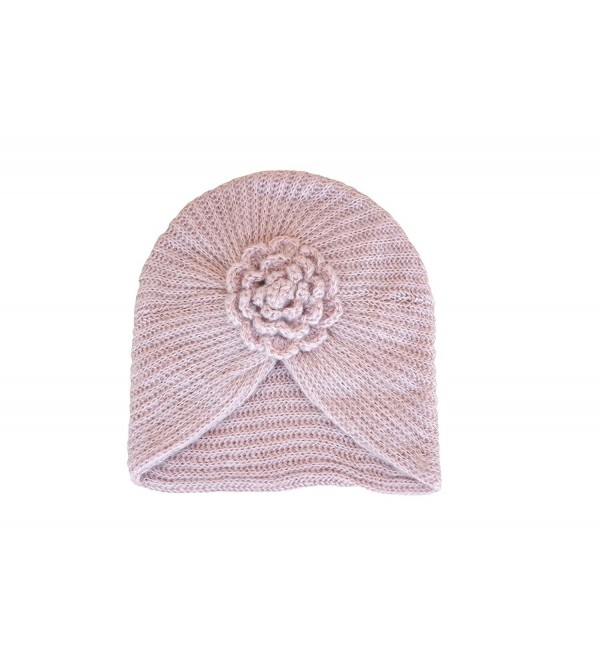 Lawliet Baroque Style Ladies Winter Chunky Knit Floral Turban Beanie Ski Chemo Hat A232 - Pink - CG11O4QKG4N
