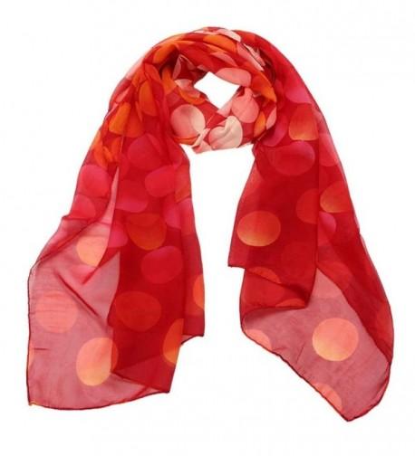 Deamyth Women Chiffon Scarf Dots Printing Long Shawl Wrap Stole Headscarf Fall Winter - Watermelon Red - CE12O9AM200