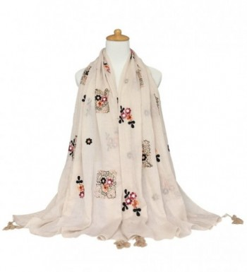 GERINLY Scarves Fragrant Flowers Embroidery in Fashion Scarves