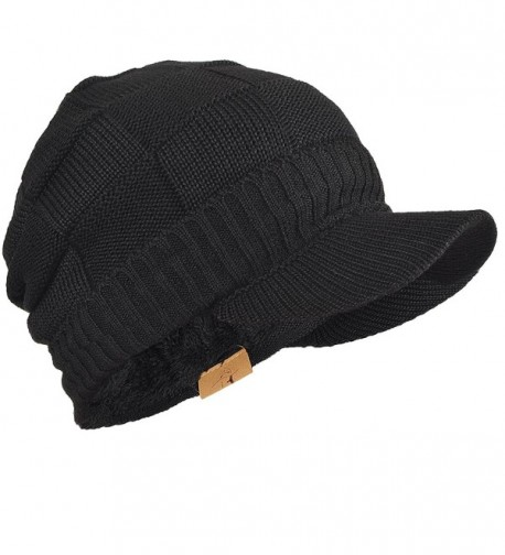 FORBUSITE Mens Chunky Fleece Winter Visor Beanie Knit Cap Hat B322 - Black - CX186ILY85A