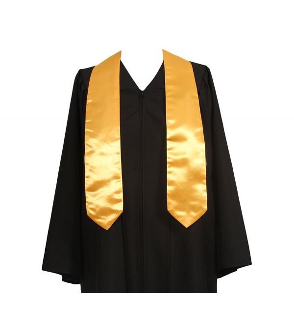 GraduationService Unisex Plain Graduation Stole For Adult - Gold - CB12GY07NTH