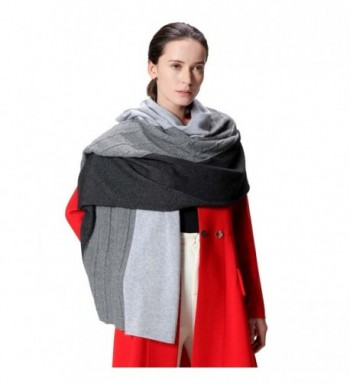 Fincati Women Scarves 100% Goat Cashmere Winter Wrap Pashmina 65''x30'' Contrast Color Twist Knit Shawl - Grey - C7189IQXKMC
