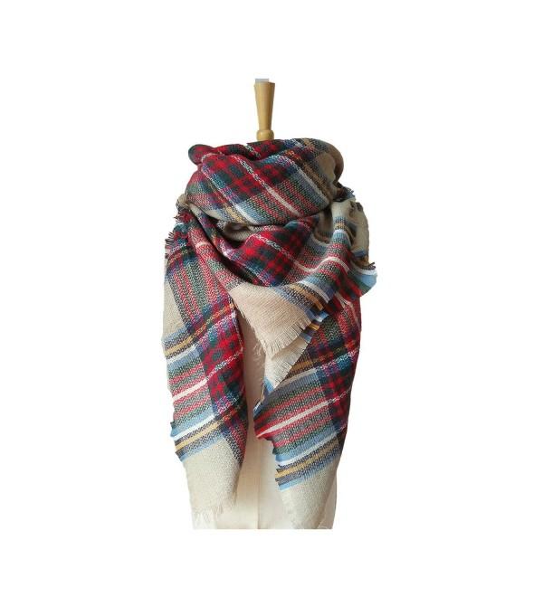 Kaariss Women's Tassels Soft Plaid Tartan Scarf Winter Large Blanket Wrap Shawl - Khaki - CK186KE95KQ