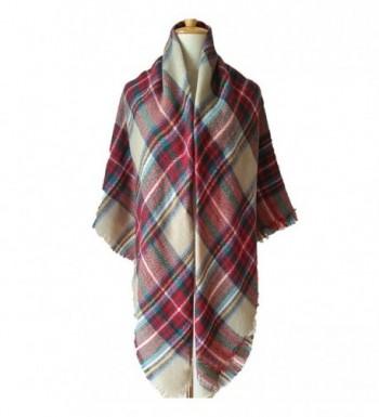 Kaariss Womens Tassels Tartan Blanket