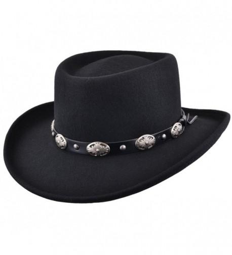 Maz Crushable Wool Felt Gambler Cowboy Hat with Buckle Band - Black - CQ187ZY7GIM