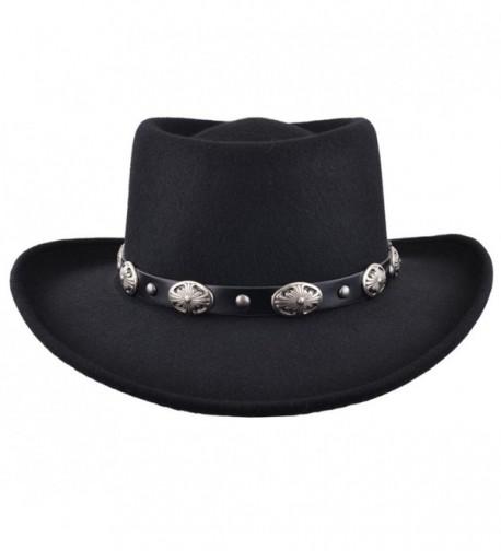 Crushable Wool Felt Gambler Cowboy Hat with Buckle Band Black CQ187ZY7GIM