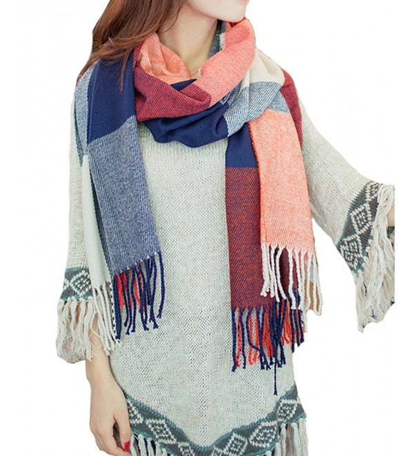 Merokeety Women's Plaid Blanket Scarf Wrap Long Shawl Winter Warm Lattice Large Scarf - Red&Blue - CV127INW61T