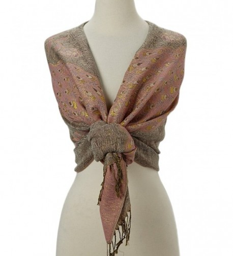 Tan's Double Layered Gold Thread Reversible Peacock Pashmina Scarf Shawl Wrap - Baby Pink & Taupe - C512MY79LGC