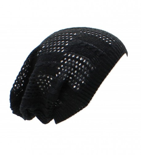 BSB Crochet Knit Beanie For Women Men Teens colorful Slouchy Fashion Accessory - Black Cable - CO11TD8MW53