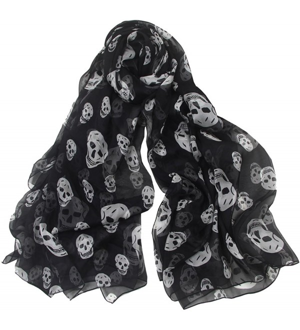 Aoli's Fashion Women's Solid Color Soft Long Oversized Mulberry Silk Wedding Scarf Wrap - Black Skull - C81880964AK