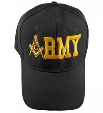 Army Mason Baseball Cap and BCAH Bumper Sticker Freemason Masonic Black Mens Hat - C311EVMESA7