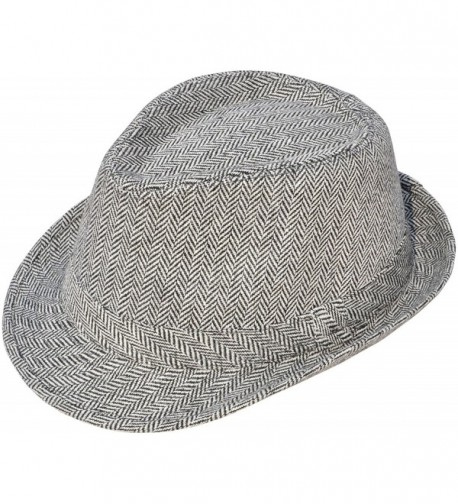 Mens/Womens Vintage Structured Stain-Resistant Wool Blend Fedora Hat - Black/ White - CM180DCDZDH