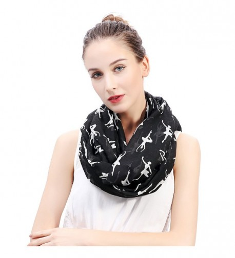 Lina & Lily Ballerinas Dancers Print Women's Infinity Scarf Lightweight - Black - CN18495GKY3