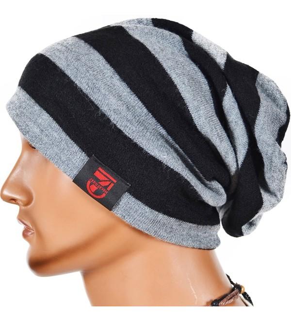 Unisex Toweling Slouch Beanie Hat Knit Skull Cap B0744 - Black - CF11NELJDBL
